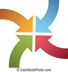 centrera, peka, färg, båge, pilar, sammanlöpa, fyra