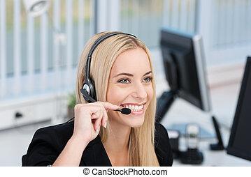 centrera, vänskapsmatch, rop, receptionist, operatör, eller