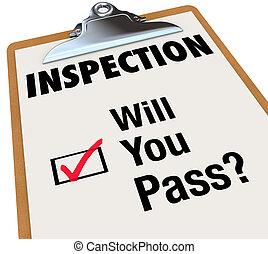 checklista, vilja, skrivplatta, ord, passera, dig, inspektion