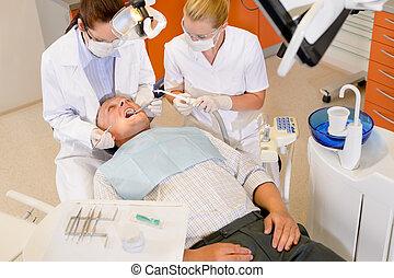 checkup, dental, manlig, tålmodig
