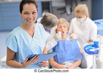 checkup, professionell, tonårig, tålmodig, tandläkare, lag