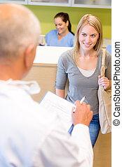 checkup, tålmodig, dental, yrke, tandläkare, nästa