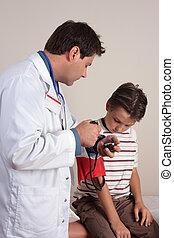 checkup, tryck, medicinsk, -, blod