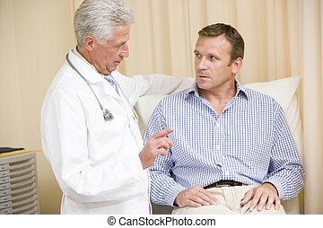 checkup, undersökande rum, läkare, ge sig, man