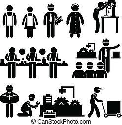 chef, arbetare, fabrik, arbete
