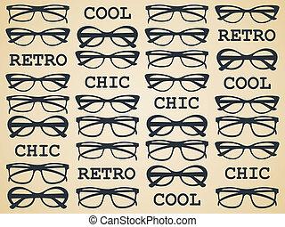 chic, retro, glasögon