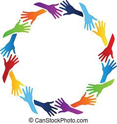 cirkel, gemenskap, räcker