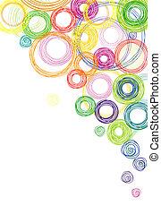 cirklarna, abstrakt, färgad fond