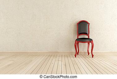 classici, mot, svart, vägg, stol, röd