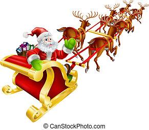 claus, jultomten, jul, flygning, sleigh