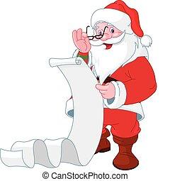 claus, jultomten, lista, läsning, gåvor