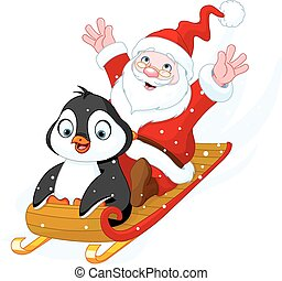 claus, jultomten, pingvin