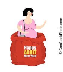 claus., kvinna, prostituerad, present., säck, röd, men., year., vuxen, jultomten, nöje, färsk, helgdag, gratulationer, whore, lycklig