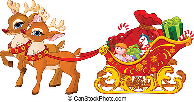 claus, sleigh, jultomten