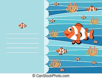clownfish, papper, design, simning