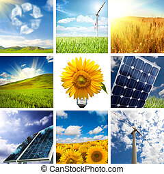 collage, färsk, energi