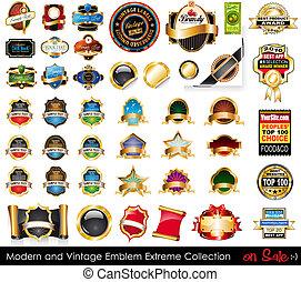 collection., symboler, ytterlighet, nymodig, årgång
