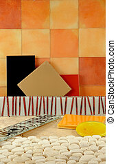 colors., badrum, färgrik, formar, tegelpanna, decor.