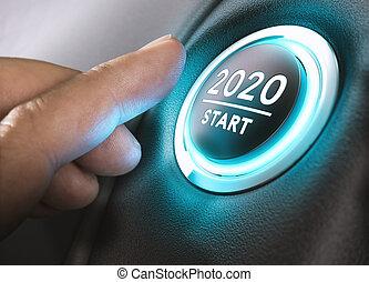 concept., år, 2020, två, tjugo, start, tusen