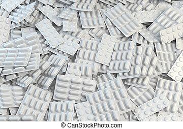 concept., apotek, blåsor, pills., bakgrund, kapsyler, medicinsk behandling