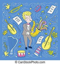 concept., musiker, yrke, illustration, vektor, handdrawn