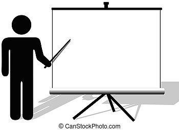copyspace, film, symbol, pekar, presentation, avskärma, man