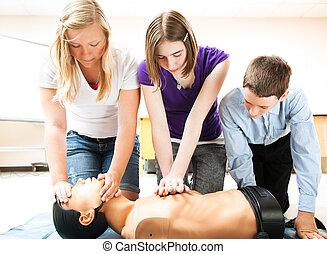 cpr, livräddnings, öva, deltagare