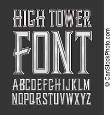 crafted, årgång, etikett, hög, vektor, font., torn, händig