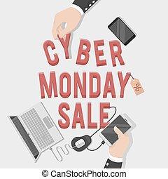 cybernetiska, måndag, illustration, försäljning