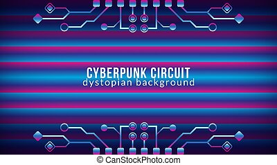 cyberpunk, färg, lutning, blå, vektor, template., theme., elektronisk, bakgrund, pattern., purpur, illustration., form, rosa, strömkrets, design, hinder, träd, dystopian, violett, abstrakt