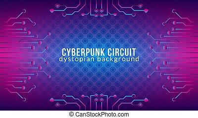cyberpunk, färg, lutning, blå, vektor, template., theme., elektronisk, sci-fi, bakgrund, pattern., reptil, purpur, illustration., form, skinn, rosa, strömkrets, design, träd, dystopian, violett, abstrakt
