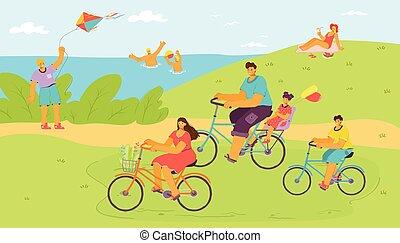 cykel, familjvacation, utomhus, tecknad film, helgdag, folk, kvinna, natur, vektor, rida, man, resa, trip., illustration., vatten