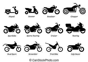 cykel, motorcykel, motorcykel, olik, set., lista, ikon, typ