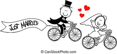 cyklar, rolig, brudgum, brud