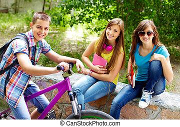 cyklist, flickor