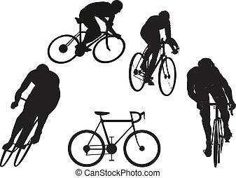 cyklist, silhouettes
