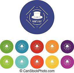 cylinder, sätta, ikonen, färg, vektor, hatt