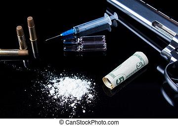 dålig, böjelse, förgiftar, drugs., brott, farlig, bakgrund., gevär, ammunition, because, gambling., svart, injektionsspruta, spegel, vanor