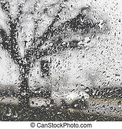 dålig, drivande, väder