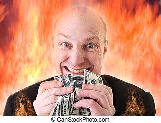 dödligt, dollars, girighet, glupskhet, synda