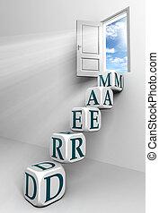 dörr, begreppsmässig, dröm