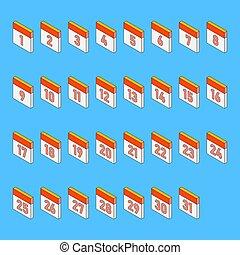 dagar, style., blå, 3, dag, illustration, kalender, 1, bakgrund, isometric, 31., tidsgräns