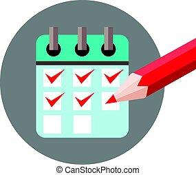 dagordning, bock lista, märke, ikon