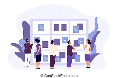 dagordning, concept., affär, administration, folk, manlig, planerande, kvinnlig, tid, arbete, möte, lägenhet, goals., tecken, schedule., tilldela