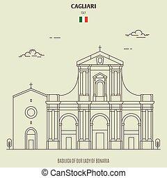 dam, cagliari, bonaria, italy., gränsmärke, basilika, ikon, vår