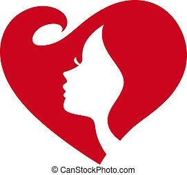 dam, silhuett, kvinnlig, rött hjärta