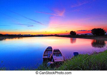 damm, solnedgång, över