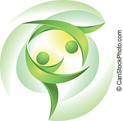 dansare, grön, eco-icon