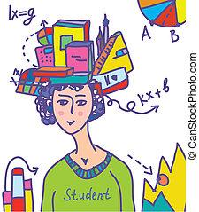 data, affisch, böcker, abstrakt, -, student, infographics