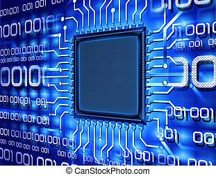 dator, binär, chips